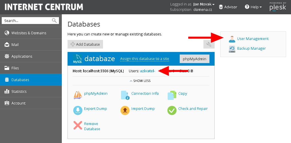 změna hesla databáze
